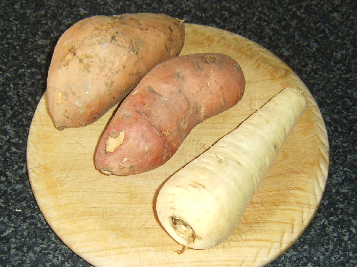 Sweet potatoes and parsnip for mash