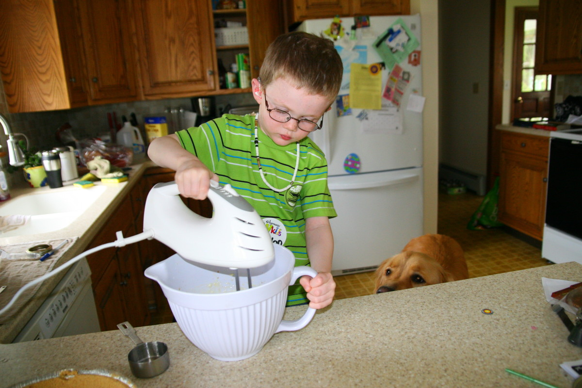 Nolan's favorite part of making this recipe is the use of the electric beaters to mix the ingredients together!