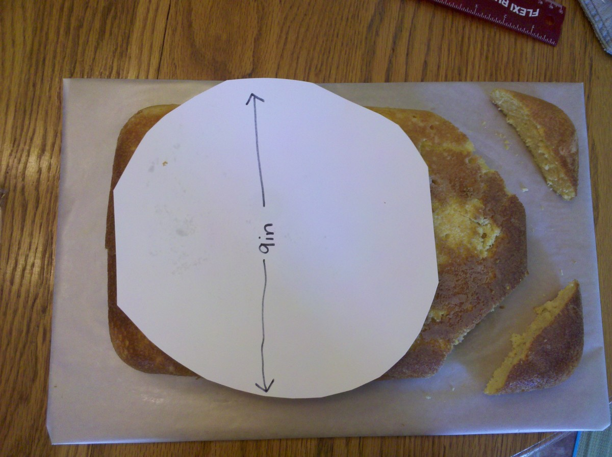 Use a 9 inch diameter circle to help you cut off the corners of the cake.