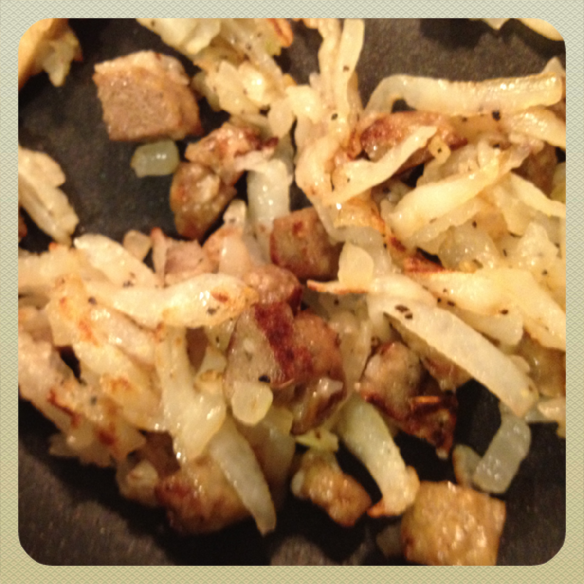 onions, potatoes, salt & pepper and sausage