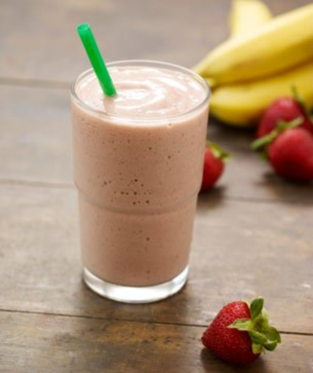 Although the Strawberry Smoothie has the most calories at 300, it also has the most fiber at 7g.