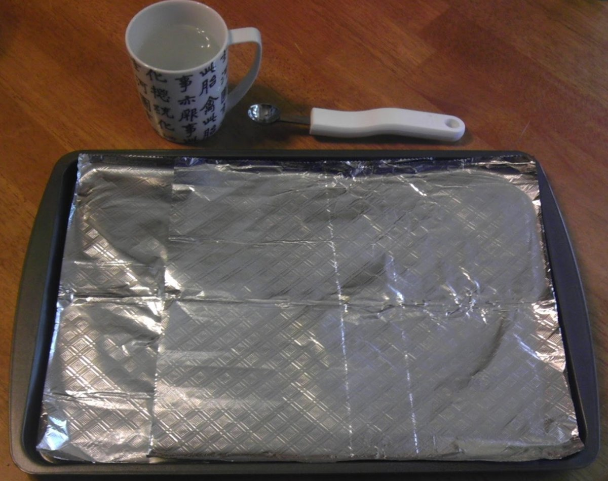 Hardware required: cookie sheet, tin foil, melon baller, and a cup of hot water.