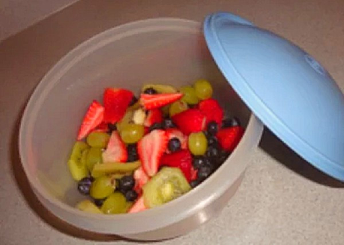 Fresh fruit salad to go! I love this container its great for keeping in the fridge or travel.