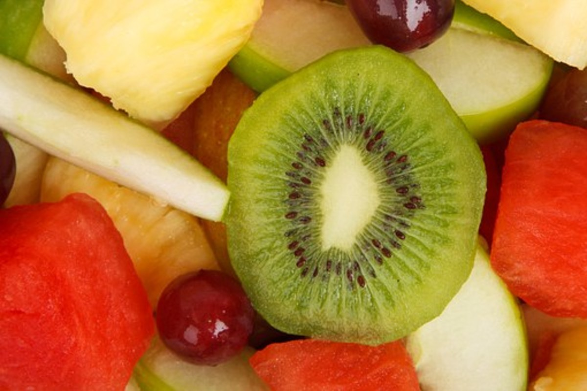 Fresh and colorful fruit salad with kiwi