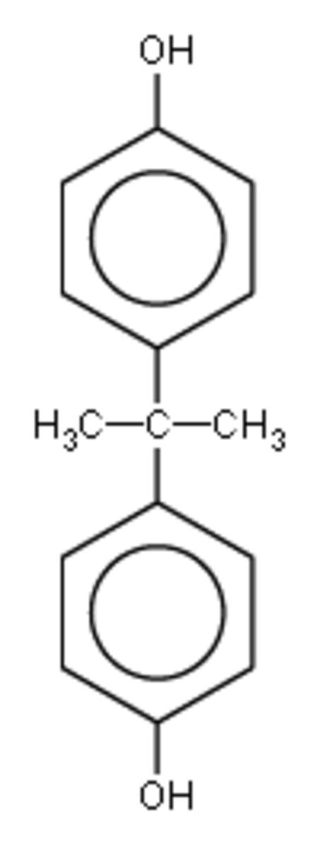 Bisphenol A chemical structure.