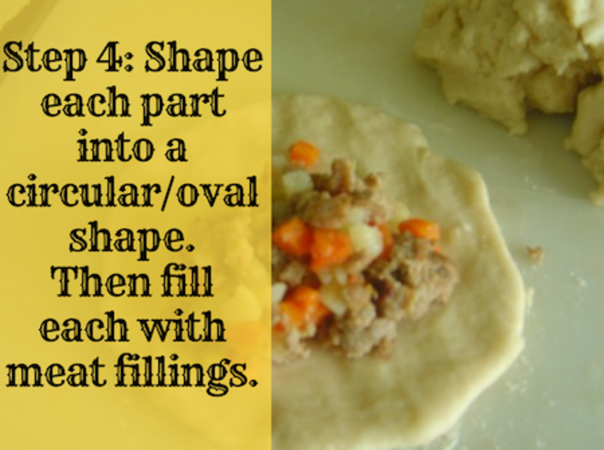 Step 4: Shape each part into a circular/oval shape. Then fill each with meat fillings.