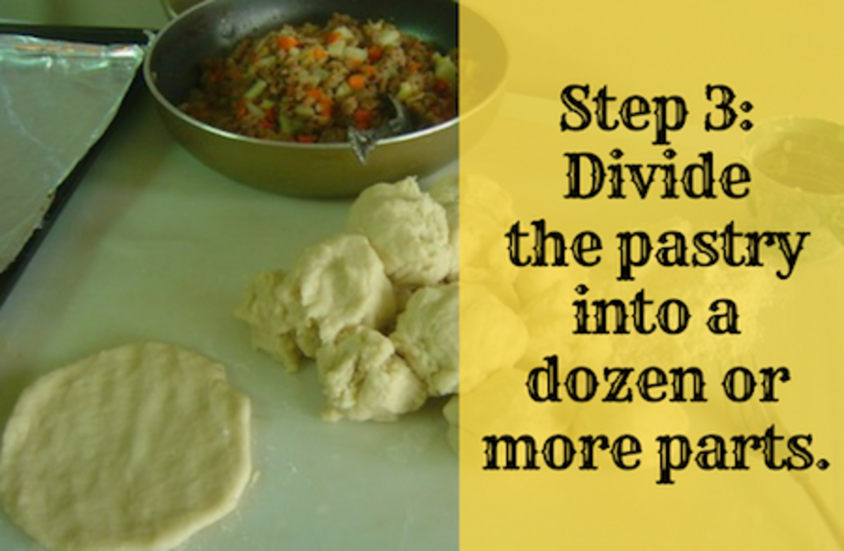 Step 3: Divide the pastry into a dozen or more parts.