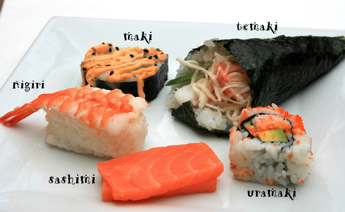 Different types of sushi: maki, temaki, uramaki, sashimi, and nigiri