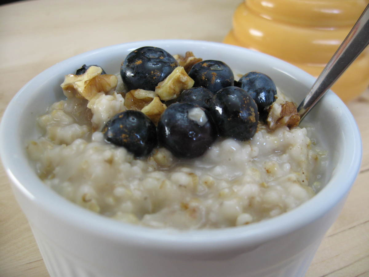 Top your steel cut oatmeal with fruits, nuts, and honey.