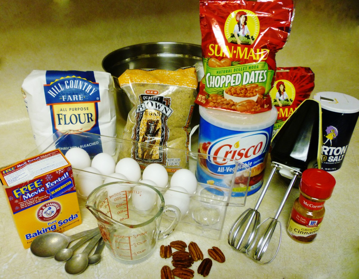 Gathering ingredients for these rolled date nut cookies