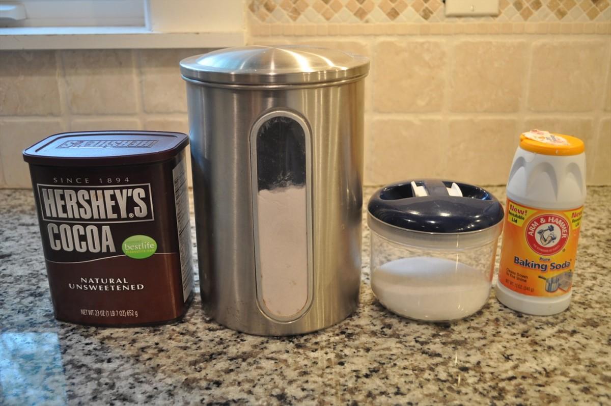 Cocoa powder, flours, salt, baking soda.