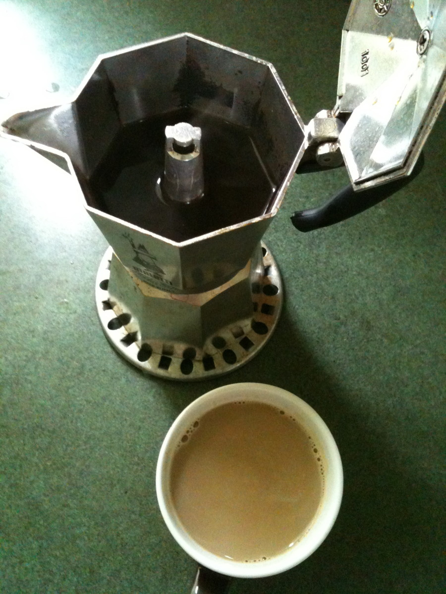 My morning Moka Pot of Coffee and Latte © Redberry Sky