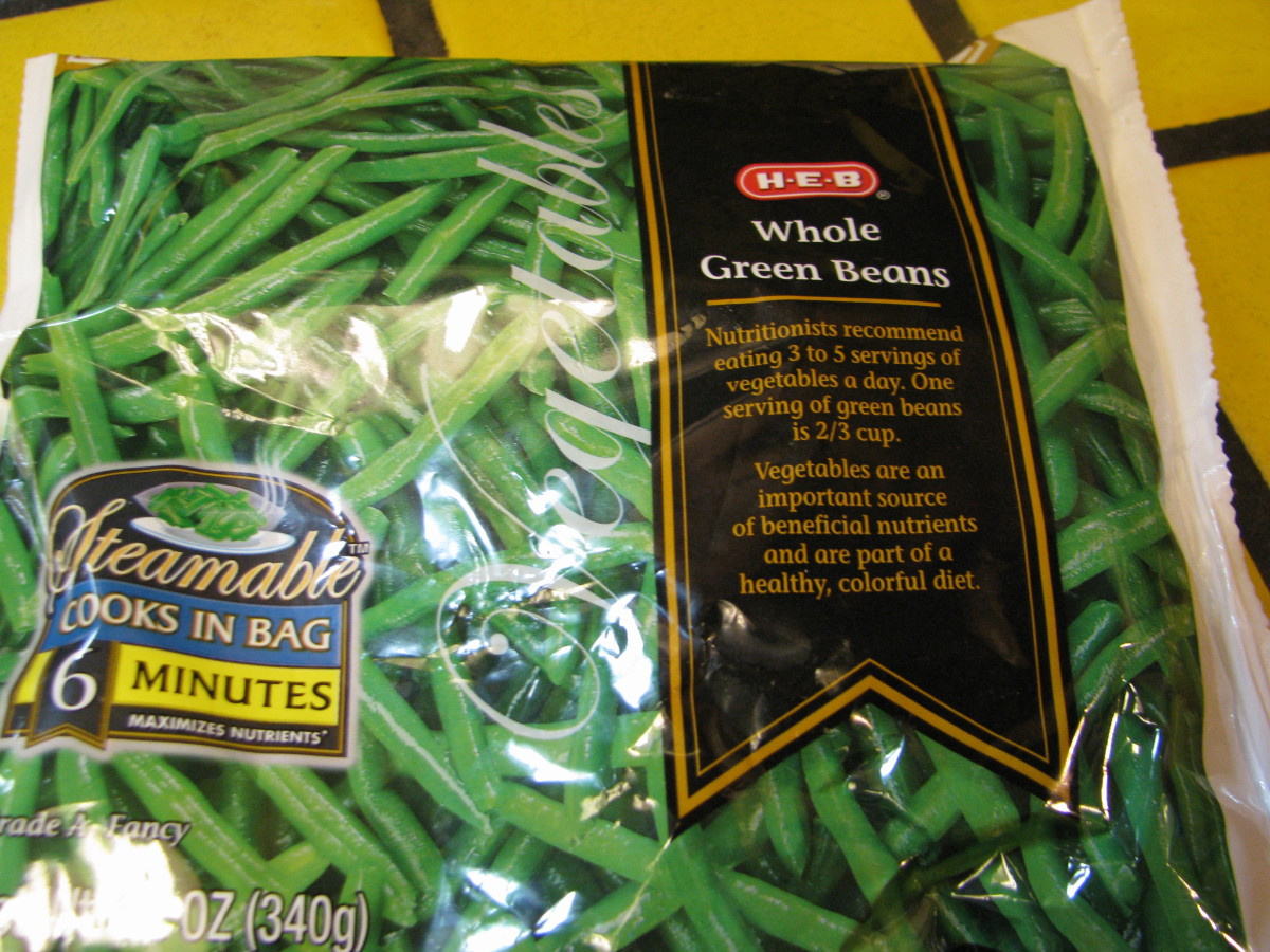 Step 1: Take a package of frozen green beans. You can also use canned beans (or follow directions below for preparing fresh beans by parboiling them).