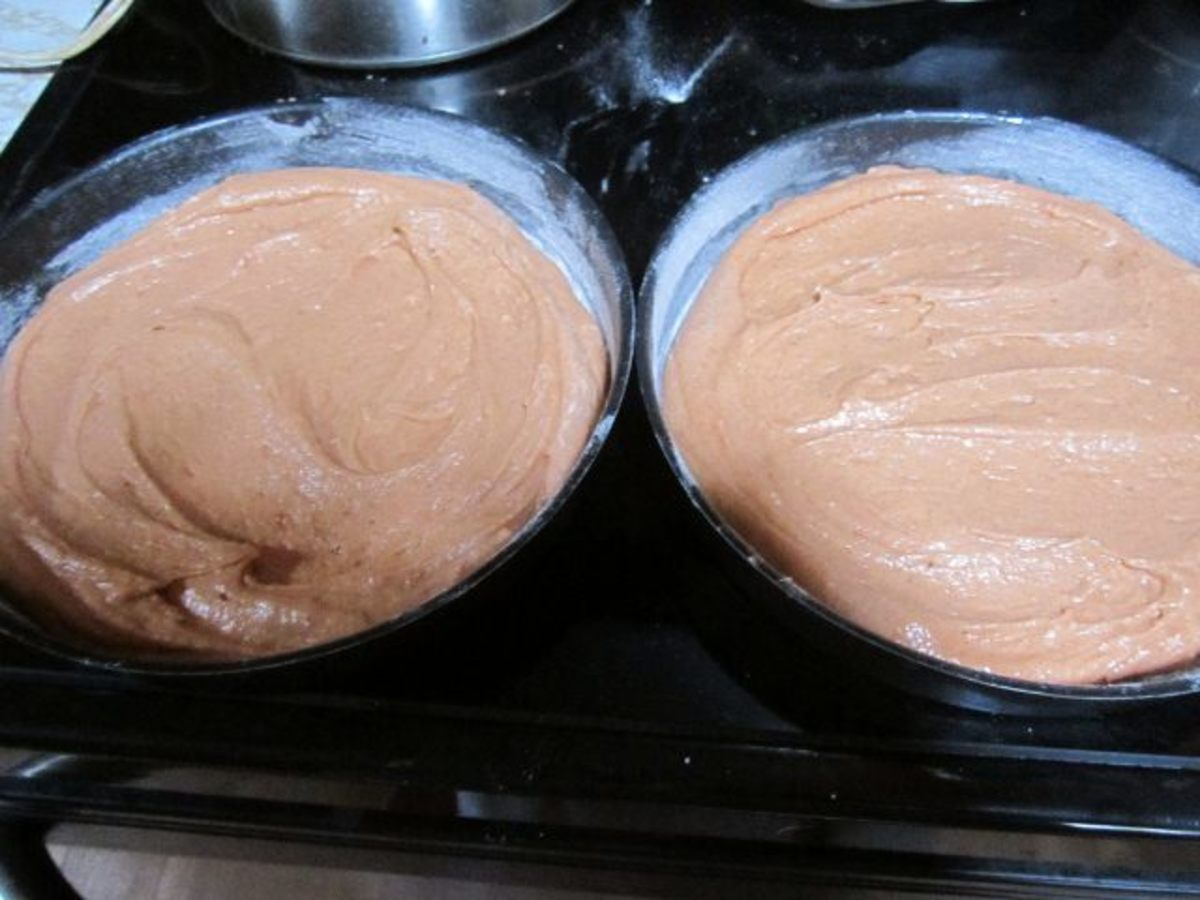 Mixture divided into two round baking pans
