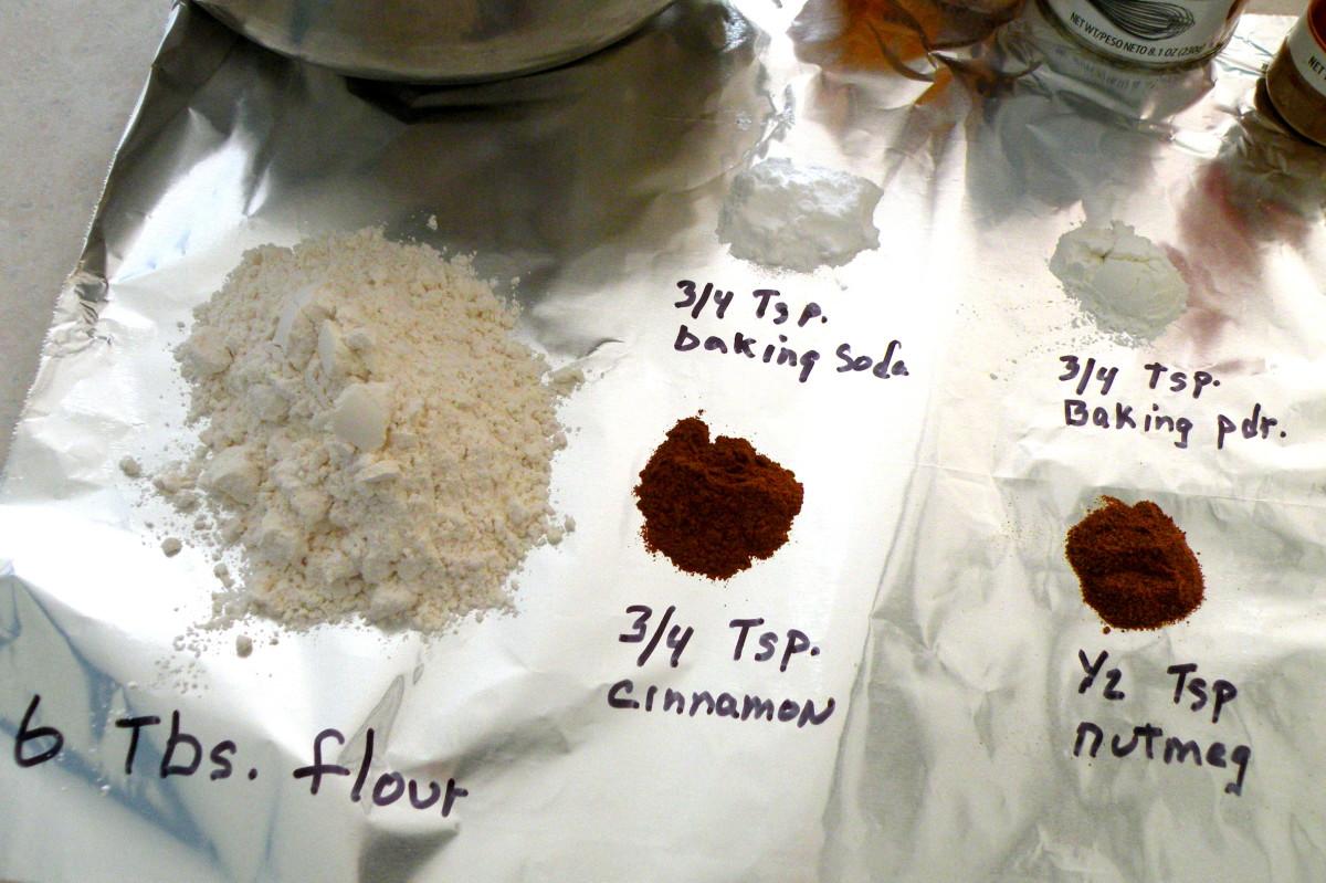 Add flour, baking powder, baking soda, cinnamon, nutmeg to crushed bran flakes and non fat dry milk mixture.