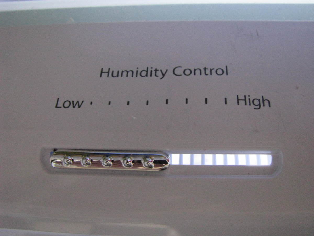 Crisper drawers have humidity controls. Fruits should be stored at low humidity, while veggies should be stored with a high humidity.