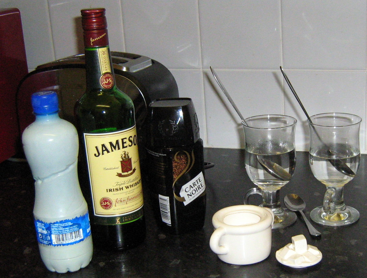 Ingredients to make an Irish coffee