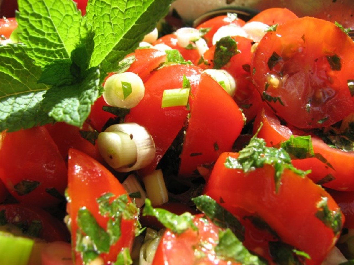 Tomato salad - garnished and ready to serve.