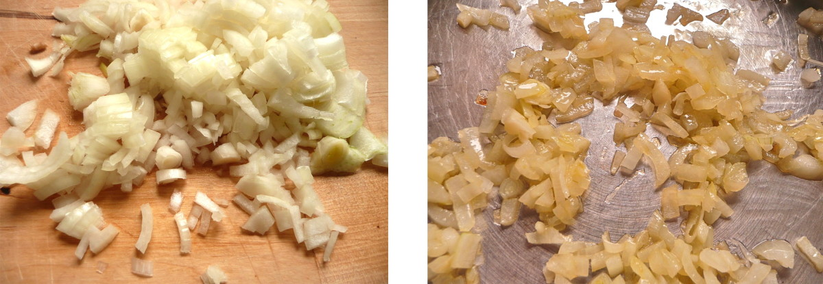 "The photos above allow you to see how onions look when ""translucent."" For comparison I have included raw onions on the left, and translucent on the right."