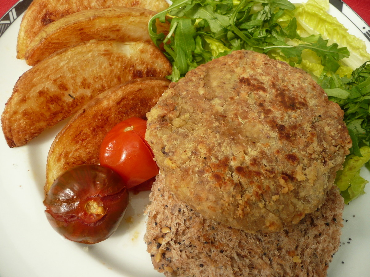 Serve on a wholegrain bun with green salad, tomatoes and potato wedges.