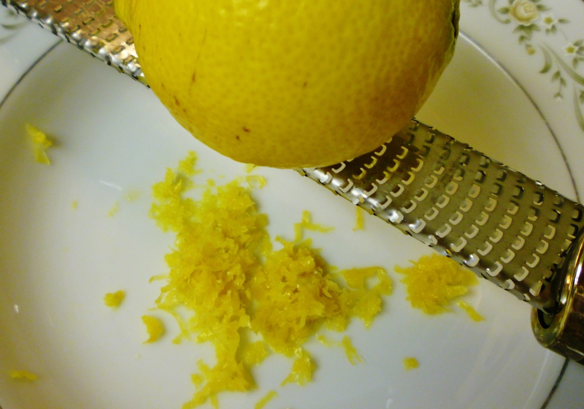 Grating the lemon peel