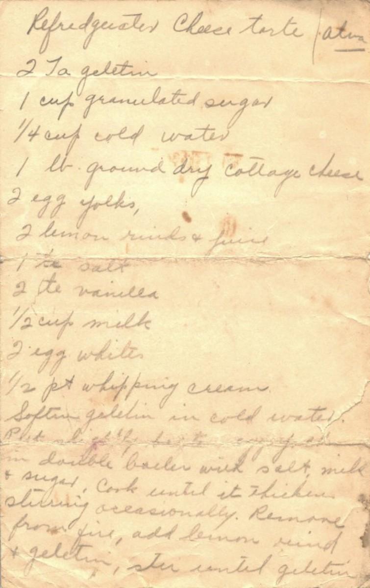 Handwritten recipe for Refrigerator Cheese Torte