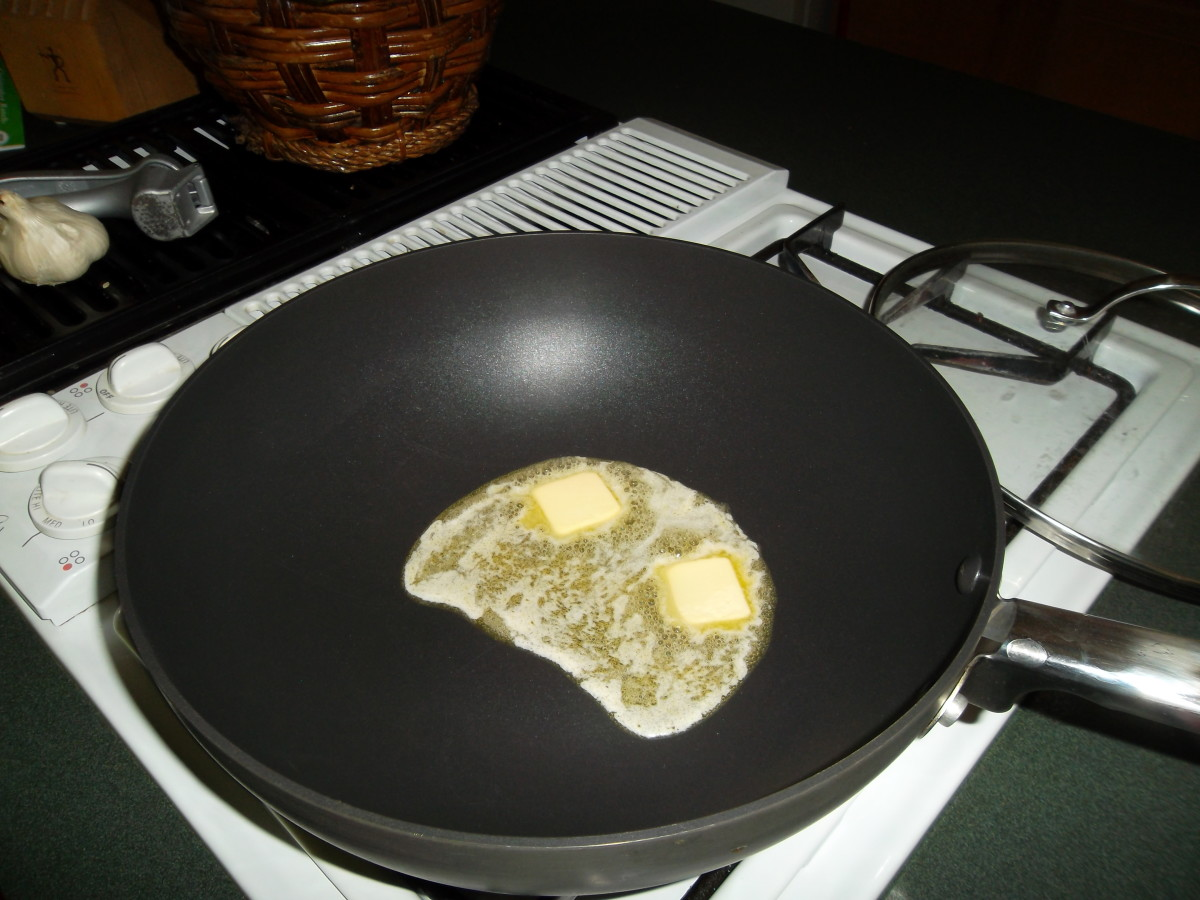 Melt butter in a heavy skillet