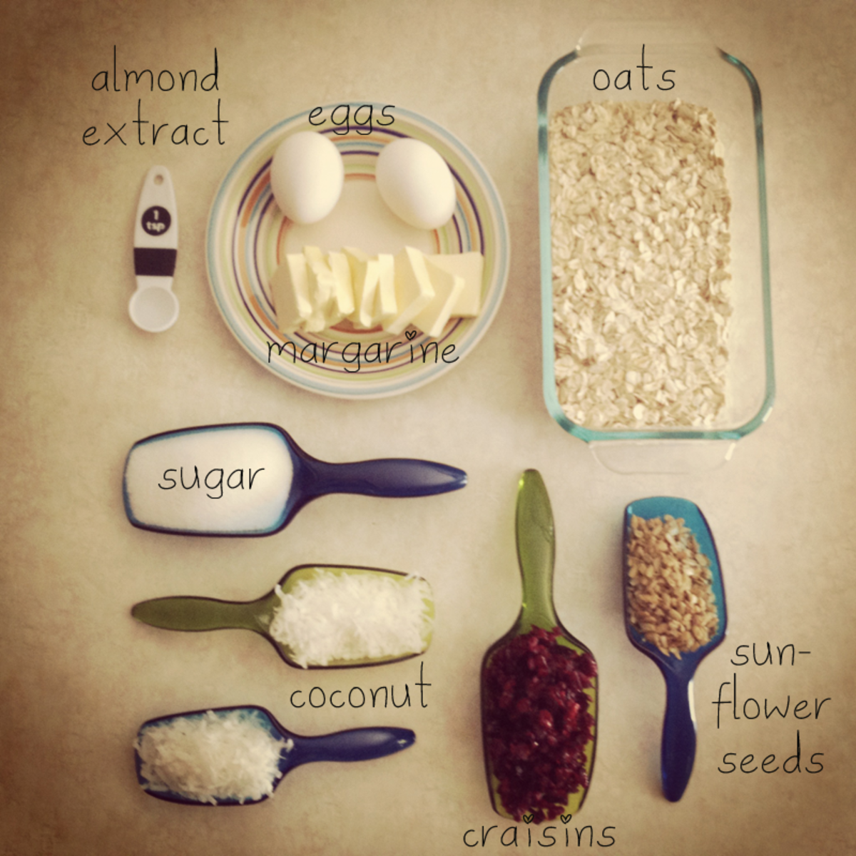 The ingredients for this easy oat bar recipe.