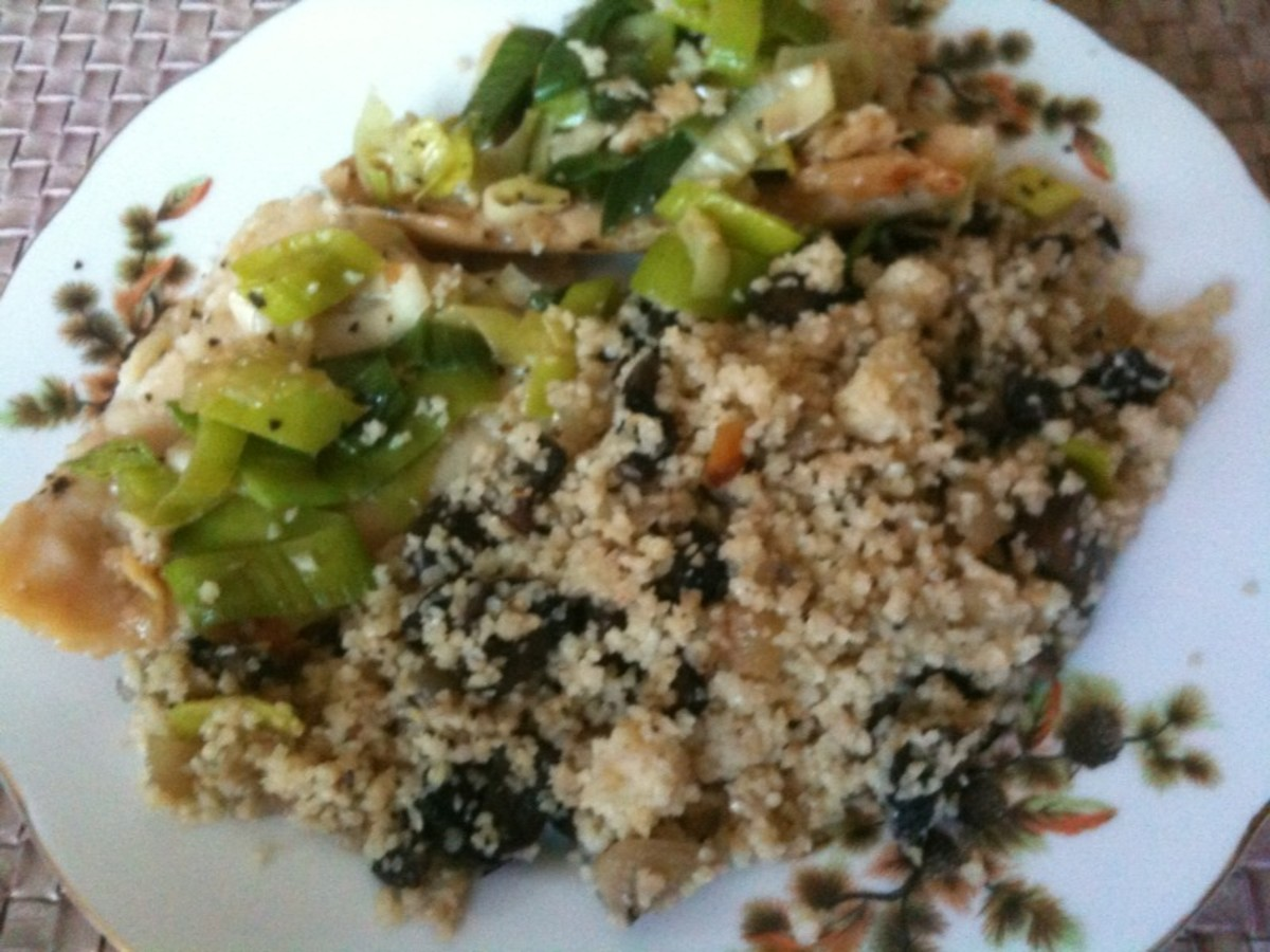 Flounder in Teriyaki sauce and Bulgur (Turkish Grain) with Portobello mushrooms