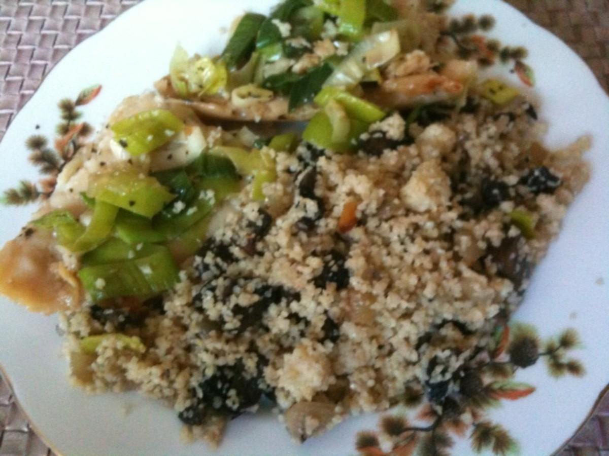 Flounder in teriyaki sauce with Bulgur (Turkish grain) and portobello mushrooms.