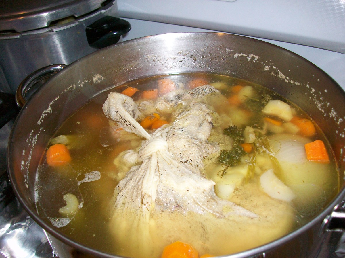 Soup in the pot, almost ready to eat