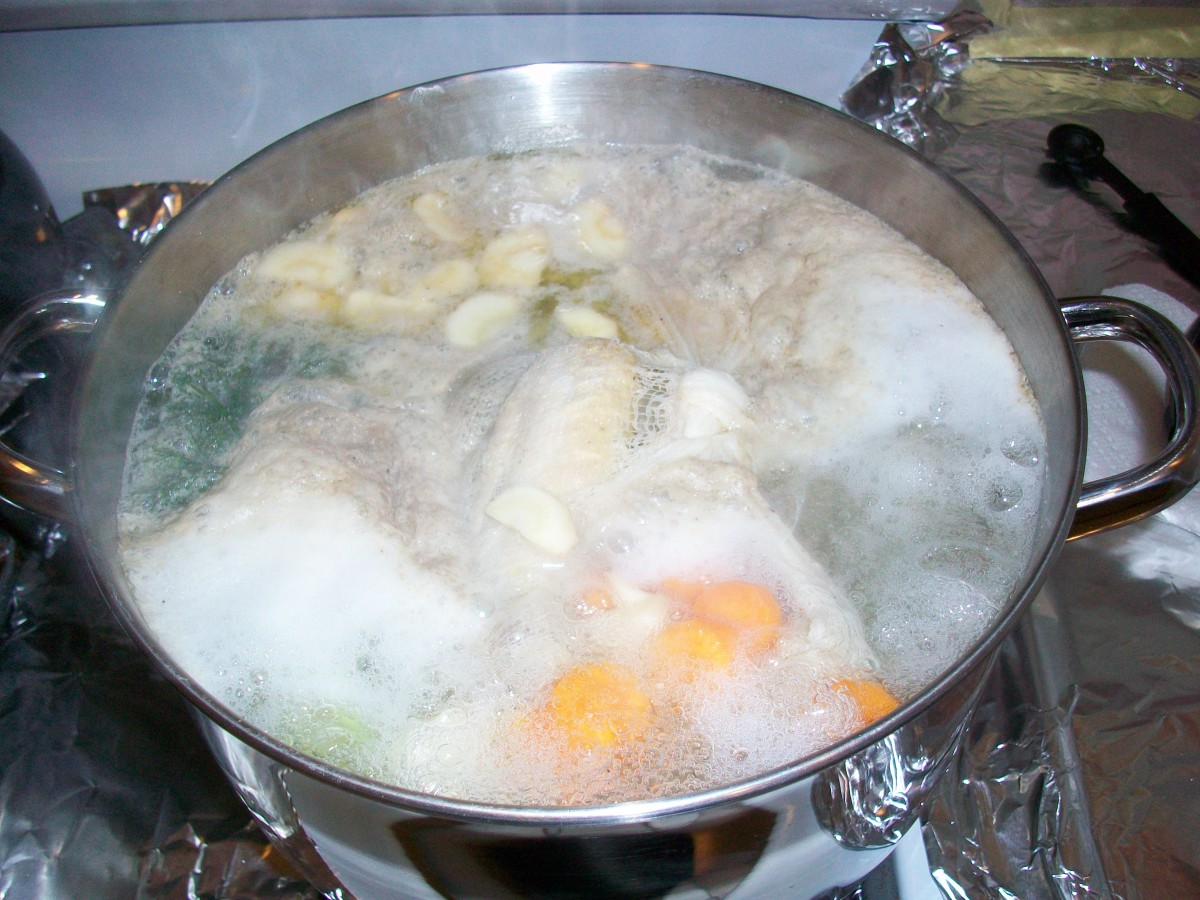 Once the soup starts to boil, cover it most of the way and turn it to medium or medium low to simmer.