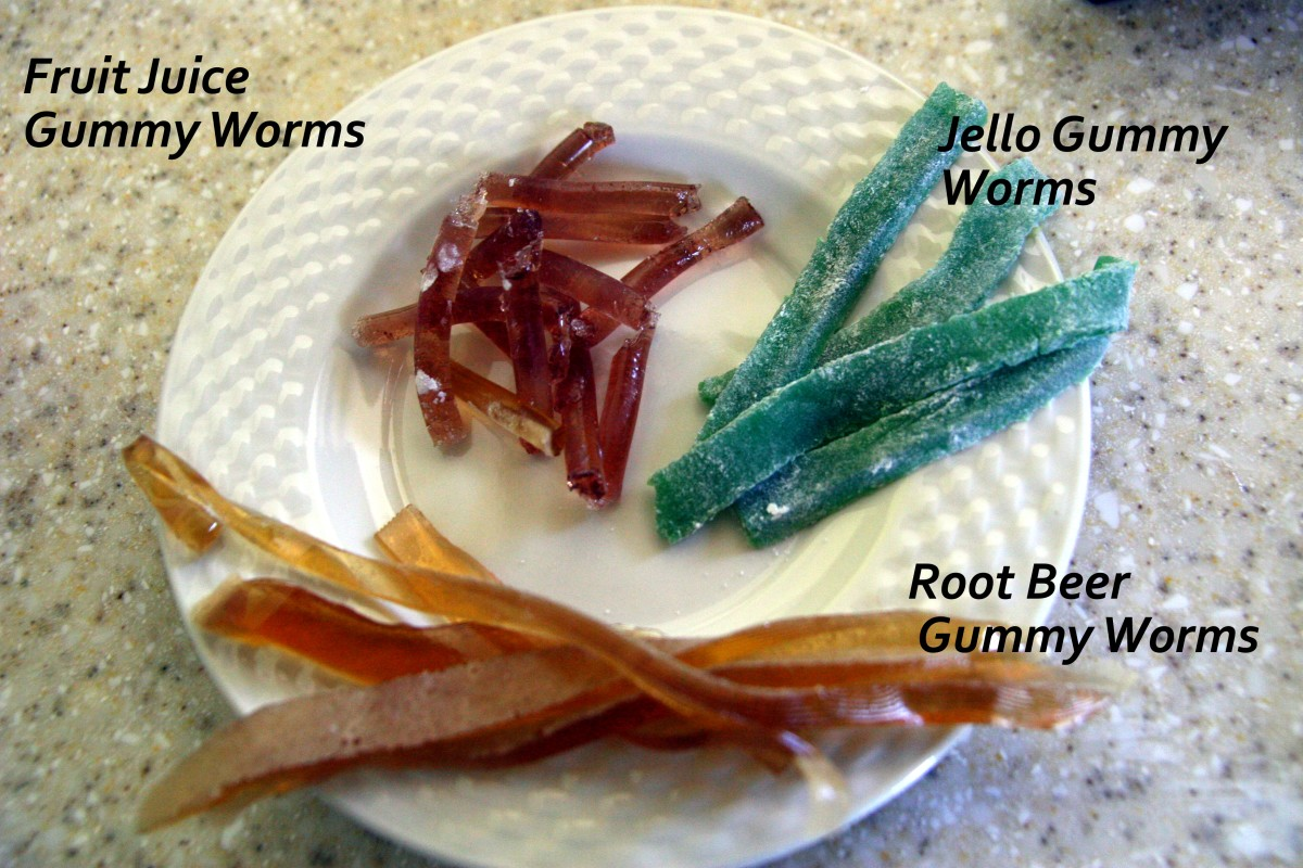 Three types of gummy worms: Fruit Juice, Root Beer, and Jello recipes.