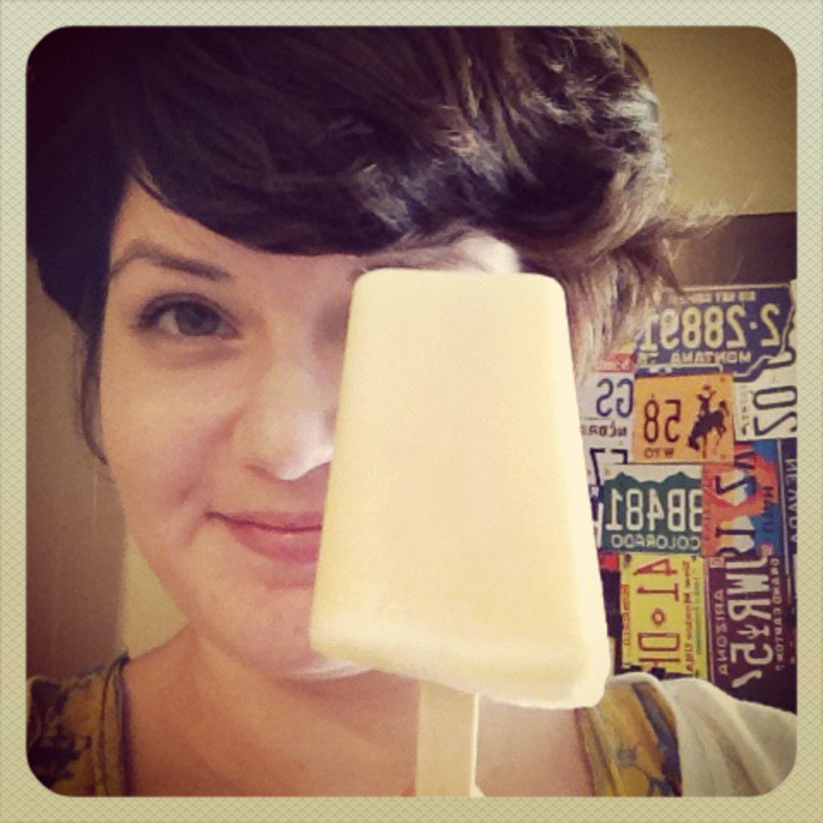 eating my peach popsicle