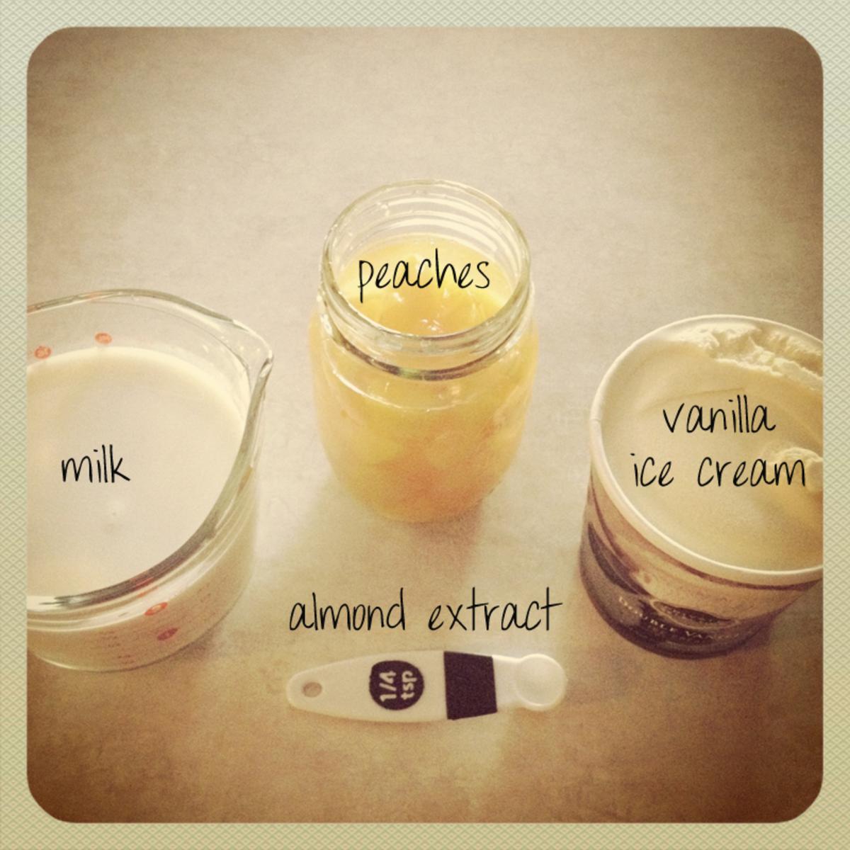 Ingredients for peach milkshake smoothie