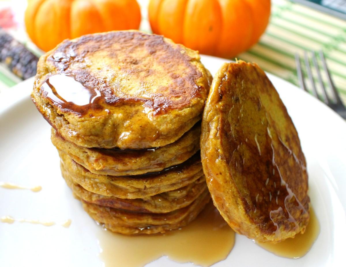Paleo pumpkin pancakes with coconut flour.