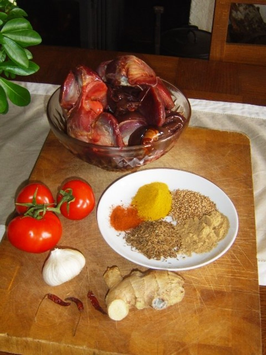 Chicken Gizzard Curry Ingredients: these are goose gizzards, chicken gizzards are much smaller