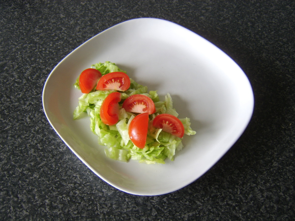 Simple salad is plated