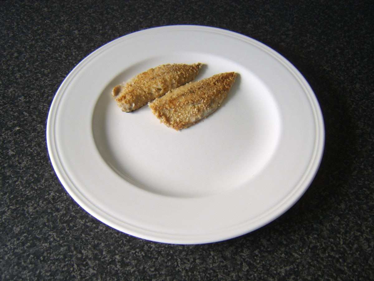 Mackerel fillets are plated for service