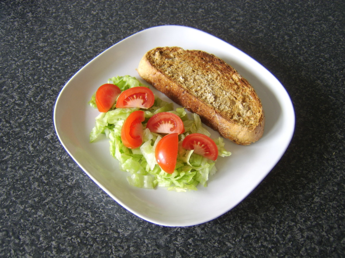 Toast is plated with salad