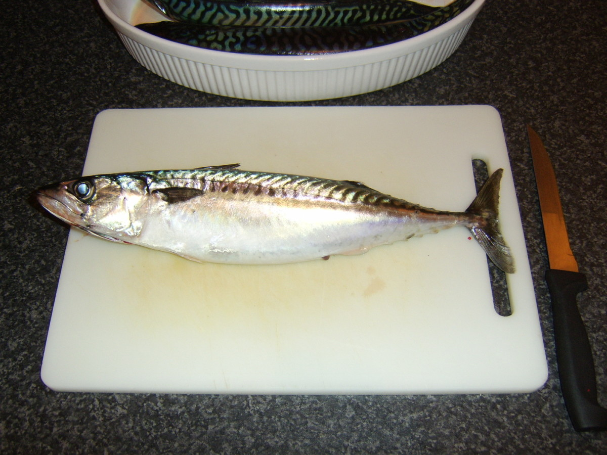 Mackerel is laid flat on a chopping board