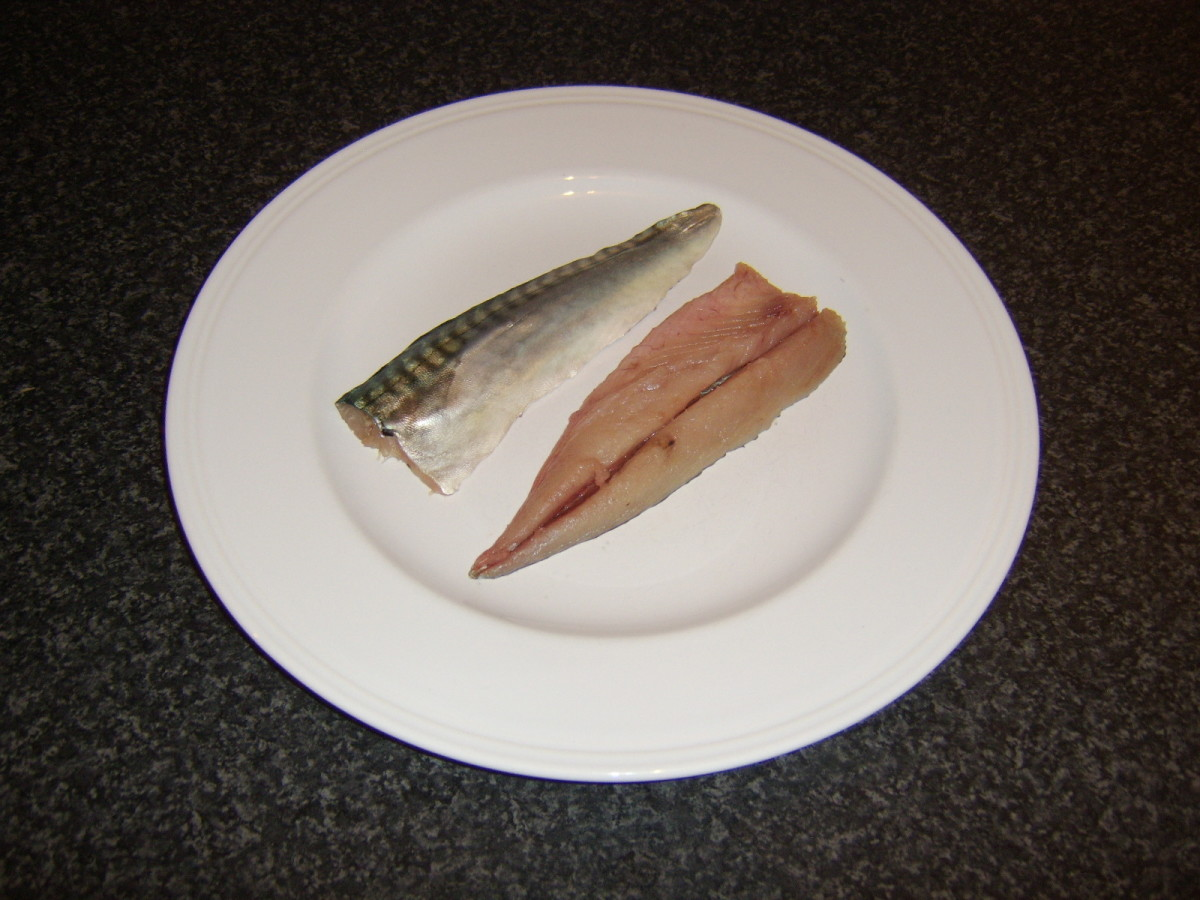 Two boned and washed mackerel fillets