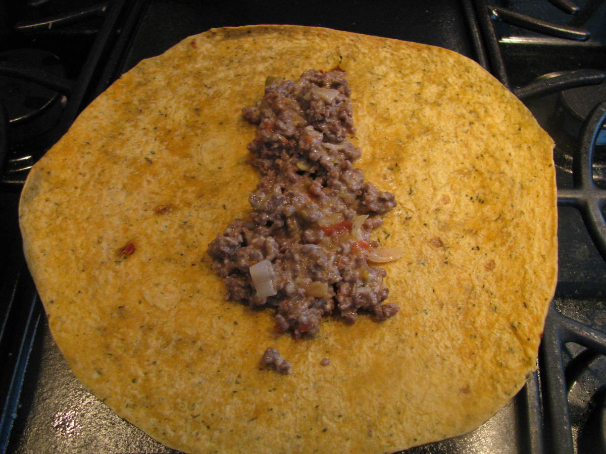 Spoon mixture onto a tortilla wrap.