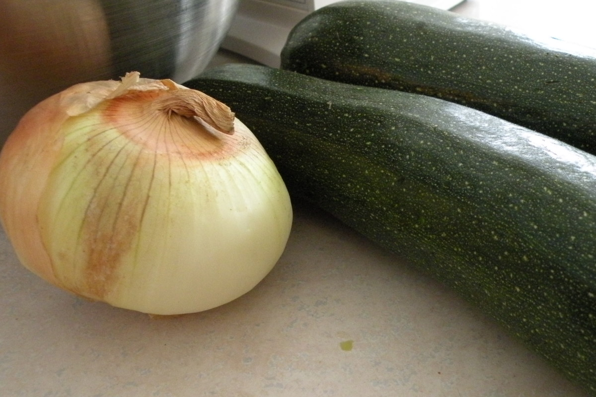 Onion and zucchini ready to make into relish.