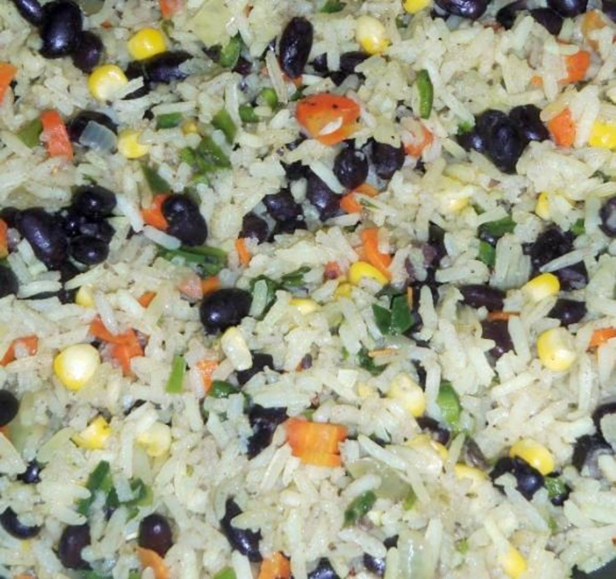 Rice and beans can be both a main dish or extra toppings for tacos.