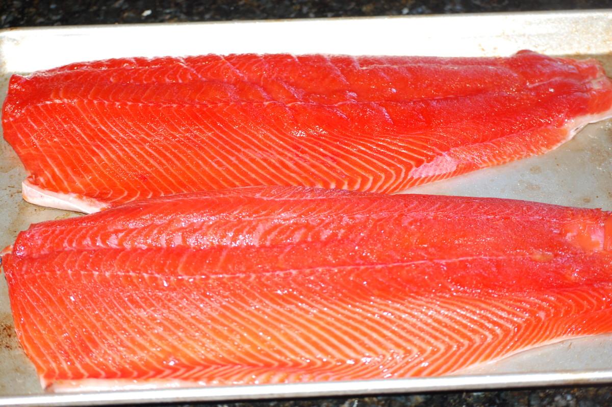 Salmon on pan