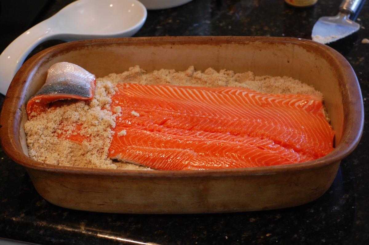 Salmon skin side down on top of dry brine mixture