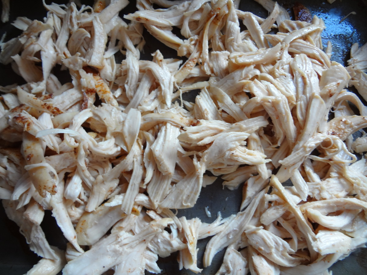 The shredded chicken