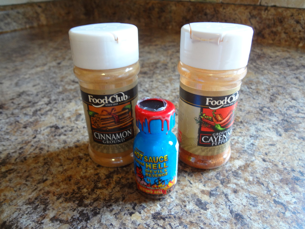 These are the spices you will need for the chicken: cayenne pepper, cinnamon, and a hot sauce of your choice.