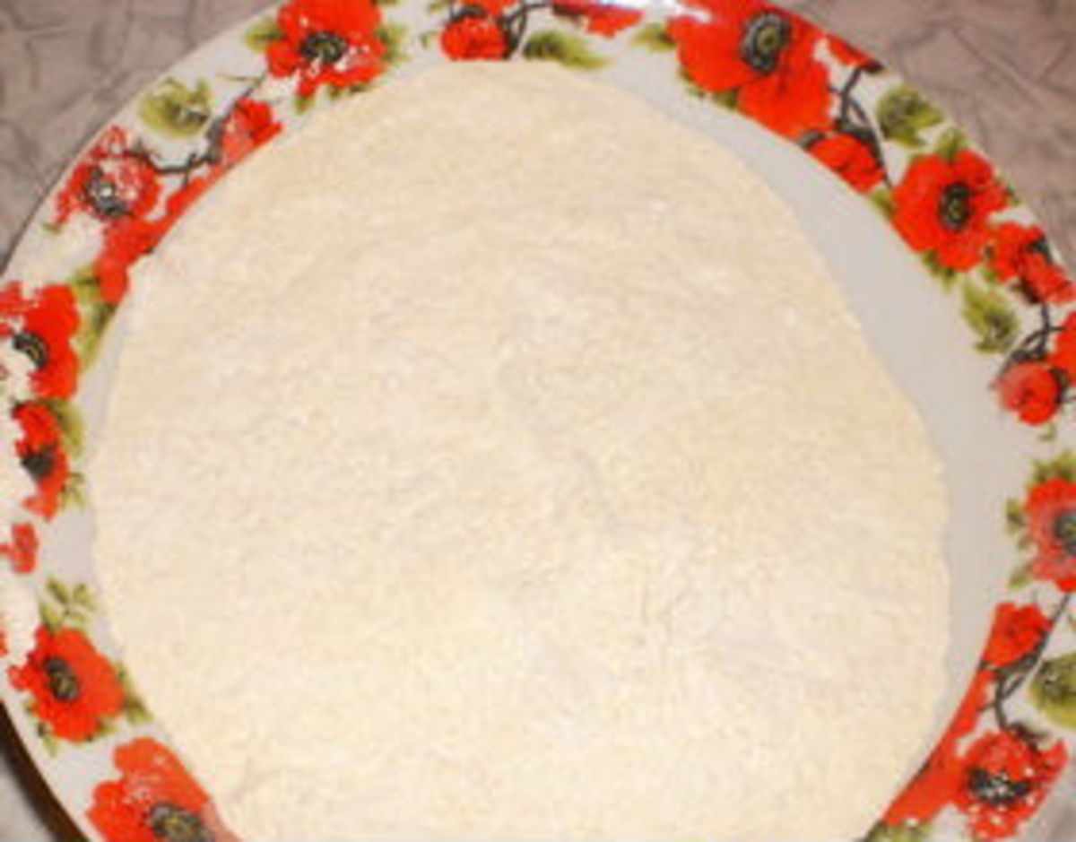 Mix flour, salt, baking powder, sugar and vegetable oil